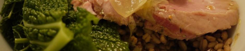 Boiled ham, lentils & barley